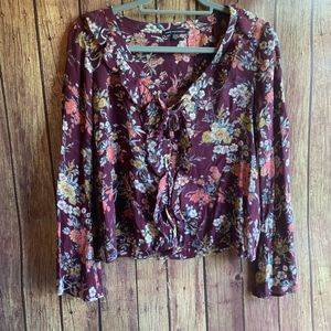 AEO Maroon Floral Long Sleeve Blouse
